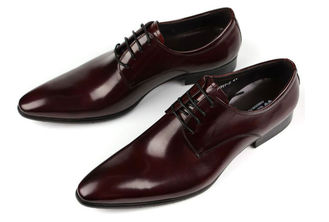 ประเทศจีน Oxford Style Mens Leather Dress Shoes Dark Red / Black Lace Up Dress Shoes ผู้ผลิต