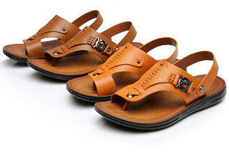 Buckle Strap Genuine Leather Sandals Summer Casual Mens Brown Beach Sandals