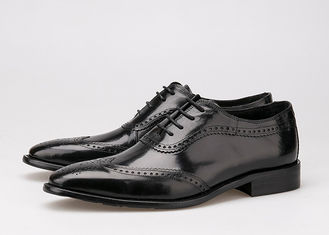 ประเทศจีน Black Men Business Casual Shoes , Carved Oxfords Leather Lace Up Brogue Shoes ผู้ผลิต