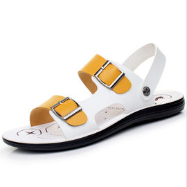 Fashion PU Leather Flat Sandals For Home , Breathable Custom Leather Sandals