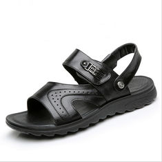 Flat Handmade Leather Sandals Leisure Black Beach Sandals With Leather Upper