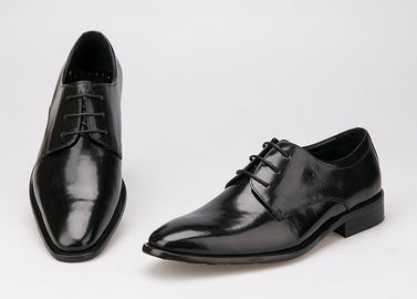 ประเทศจีน Flats Men Formal Dress Shoes Black Genuine Leather Lace Up Shoes For Business Office ผู้ผลิต