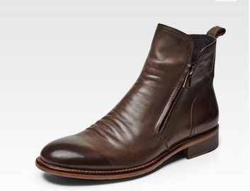 Casual Flat Mens Slip On Boots , Pointed Toe Brown Lace Up Ankle Boots