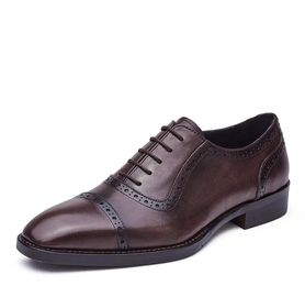 ประเทศจีน Lace Up Mens Pointed Toe Dress Shoes Autumn Mens Brown Brogue Shoes For Wedding ผู้ผลิต